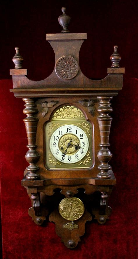 Victorian Wall Clock Carved Floral Gold Embossed