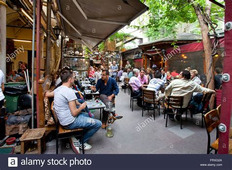 Typical Turkish cafe with tea and hookah, Istanbul, Turkey