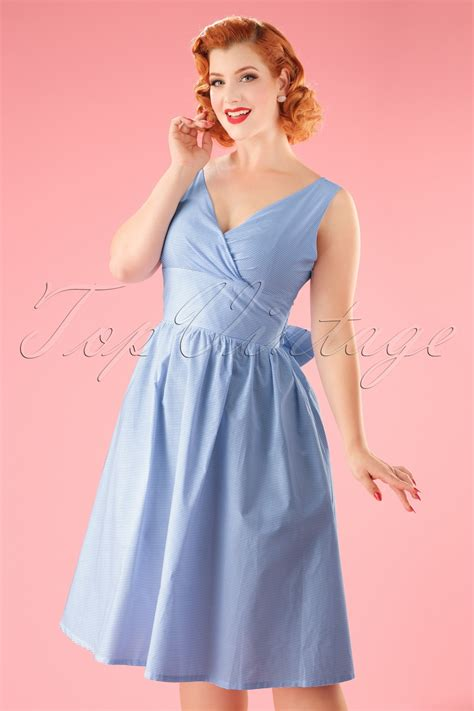 50s Front Row Striped Swing Dress in Blue and White