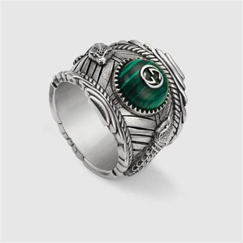 Green Resin Gucci Kingsnake Garden Ring In Silver   GUCCI® US