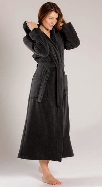 Black Terry Velour Robe with Hood for Women