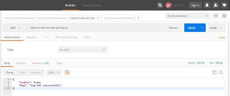 codeigniter - user log out api to destroy the session of