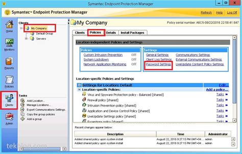 Symantec endpoint protection manager 14 password reset